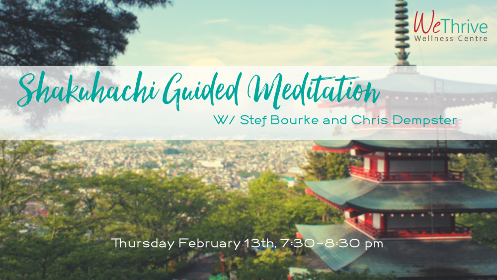 Picture featuring Japanese temple and mountain promoting Shakuhachi Guided Meditation at We Thrive on Feb 13