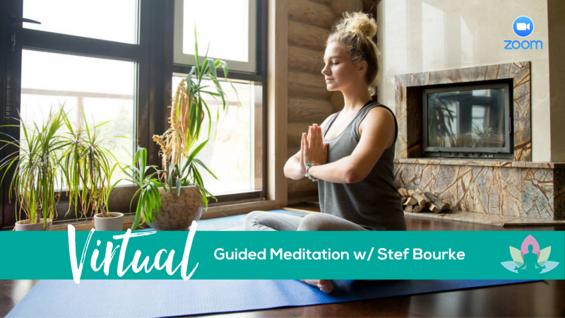 The image shows a woman meditating in her home, advertising a virtual meditation event that is happening.